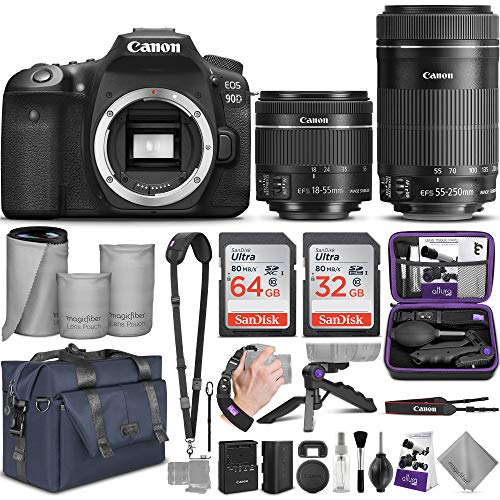 Canon EOS 90D DSLR Camera and Canon EF-S 18-55mm f/3.5-5.6 is STM + EF-S 55-250mm f/4-5.6 is STM Lens with Altura Photo Complete Accessory and Travel Bundle