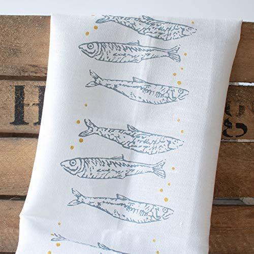 50x70 cm Halbleinen Handsiebdruck aus eigenem Atelier Nordlichter Stinte Handmade Designer Geschirrtuch