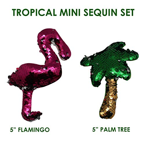 Flamingo & Palm Tree Flip Sequin Mini Set of 2~Toys for Boys & Girls~Color Changing Fabric~Birthday Party Favors for Kids~Kindergarten & Elementary School Treasure Box Prizes for Classroom (Tropical)]()