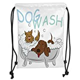 Drawstring Backpacks Bags,Nursery,Playful Dogs in a Bathtub Grooming Each Other Cute Pets Theme Illustration,White Brown Blue Soft Satin,5 Liter Capacity,Adjustable String Closure,