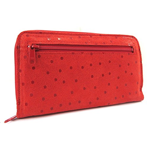 Wallet + checkbook holder leather zipped 'Frandi' red (peas). by Frandi