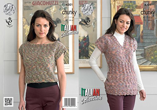 (King Cole Ladies Knitting Pattern Womens Capped Sleeve Tunic & Top Verona Chunky (4301) )