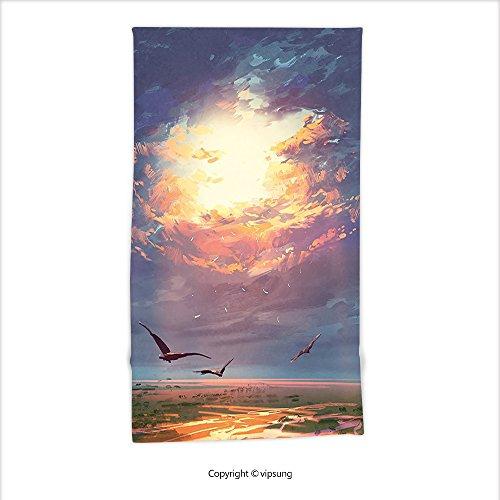 Vipsung Microfiber Ultra Soft Hand Towel-Fantasy Art House Decor Golden Sun Beams Break Through Storm Clouds Skyline Flying Gulls Blue Orange For Hotel Spa Beach Pool Bath