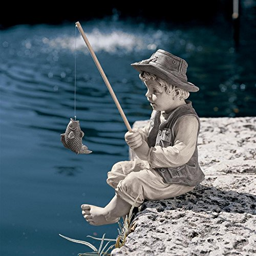 Design Toscano Frederic the Little Fisherman of Avignon Boy Fishing Garden Statue, 15 Inch, Polyresin, Two Tone Stone - Boy Angel Figurine
