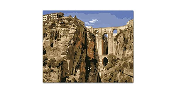 LAMAMAG Pintar por n/úmeros Castillo En El Paisaje De Las Monta/ñas Diy Pintura Por N/úmeros Kit De Pintura Sobre Lienzo Caligraf/ía Para La Decoraci/ón Del Hogar