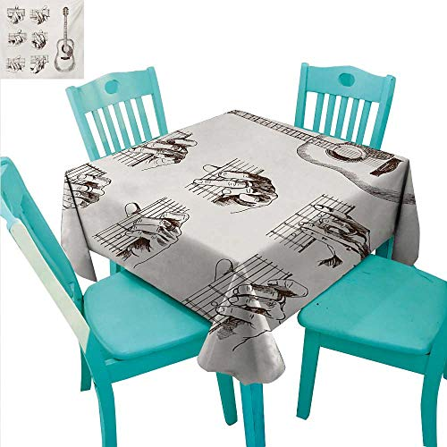 Guitar Decorative Textured Fabric Tablecloth Sketch Art Style Instrument and Chords Acoustic Flamenco Technique Skill Talent Washable Polyester - Great for Buffet Table, Parties, Holiday Dinner, Wedd -