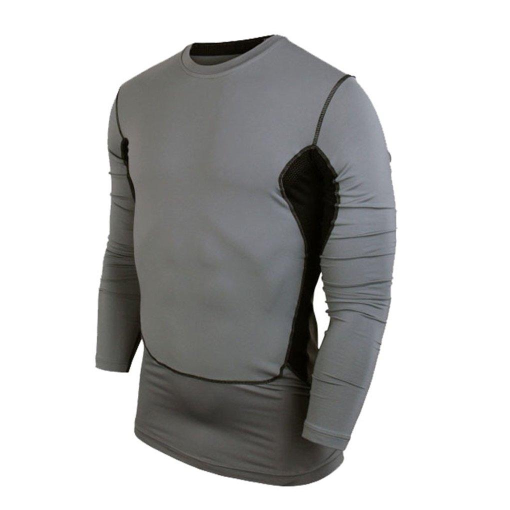 メンズ 長袖 ランニングタイツ バスケットボール フットボール サーマル コンプレッション Tシャツ  グレー B07MRHTYCB