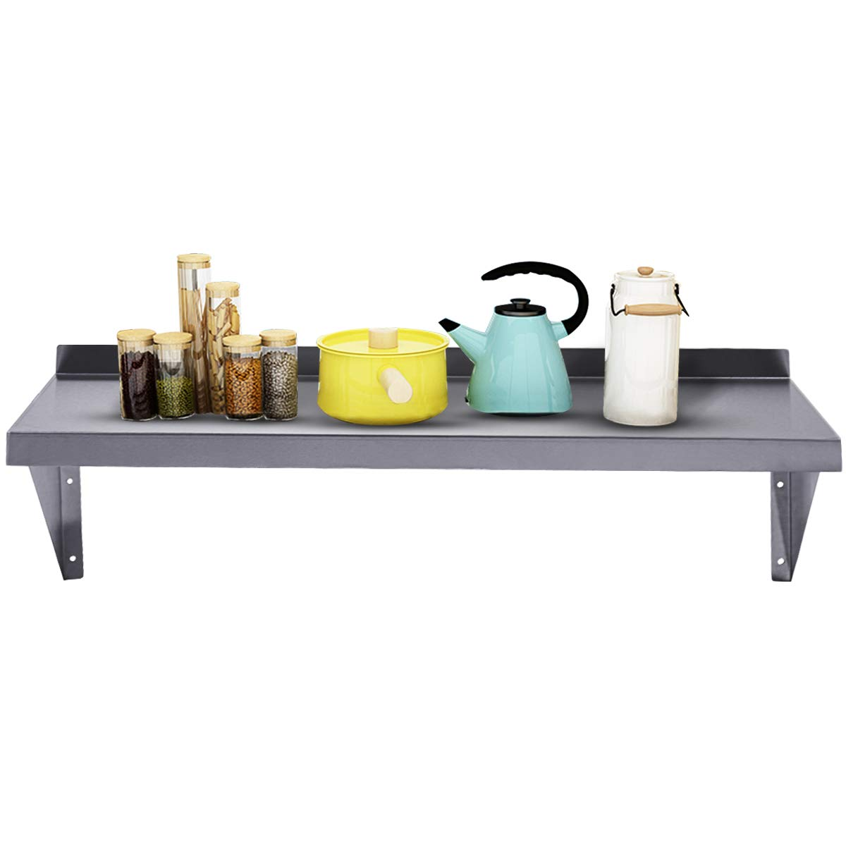 JAXPETY Commercial Stainless Steel Restaurant Bar Cafe Kitchen Floating Wall Shelf 12''X36'' Premium Quality New