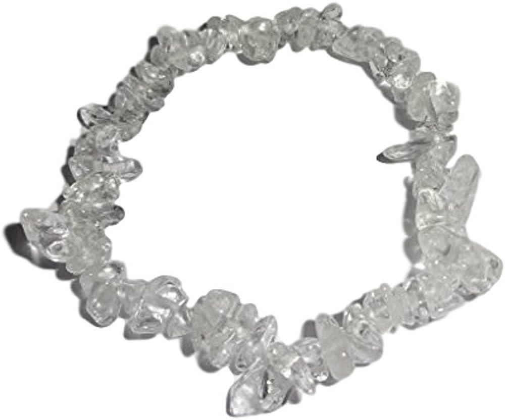 Natural Clear Quartz Crystal healing stretch bracelet