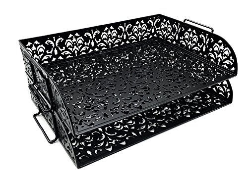 Desk Letter Organizer Tray - Stackable Paper Organizer Rack (Two Tier) - 2 Stackable Letter Trays (Black) (Letter Rack Tray)