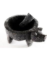 LaMex Molcajete Stone Mortar with Pig Head & Pestle