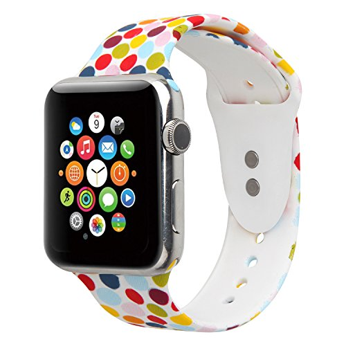Floraler Sport Band For Apple Watch 38mm, Soft Silicone Strap Replacement Wristbands For Apple Watch Sport Series 3 Series 2 Series 1(Floral-18 38 S/M)