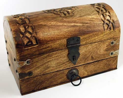 AzureGreen Decorative Boxes Trinket Treasures Celtic Cross Carved Wood Riveted Metal Ancient - Celtic Cross Trinket