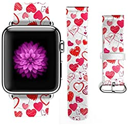 Apple Watch Band, Stainless Steel Replacement Strap Wrist Band for Apple Watch Sport & Edition - 38mm - Valentine Design Simple Love Hearts Graffiti