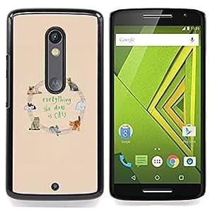 /Skull Market/ - Cats Love Yellow Animal Pattern Text For Motorola Verizon DROID MAXX 2 / Moto X Play - Mano cubierta de la caja pintada de encargo de lujo -