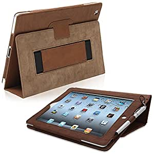 iPad 2 Case, Snugg™ - Smart Cover with Flip Stand & Lifetime Guarantee (Distressed Brown Leather) for Apple iPad 2