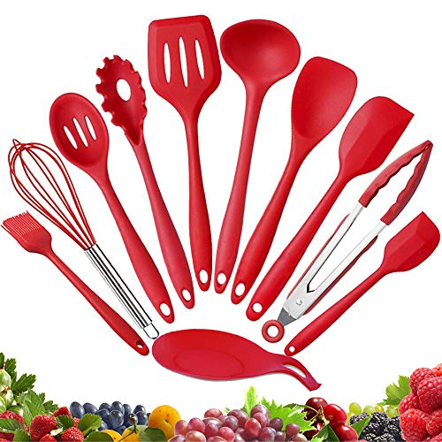 Cooking Utensils - Kitchen Utensil Set - Cooking Tools 10+1 Piece - Silicone Kitchen Utensils with Serving Tongs,Spoon,Spatula Tools,Pasta Server,Ladle,Whisk and Free Spoon Rest Gift(Red)