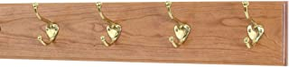 "product image for Cherry Coat Rack with Solid Brass Hat and Coat Style Hooks 4.5"" Ultra Wide (Cherry, 20"" x 4.5"" with 4 Hooks)"