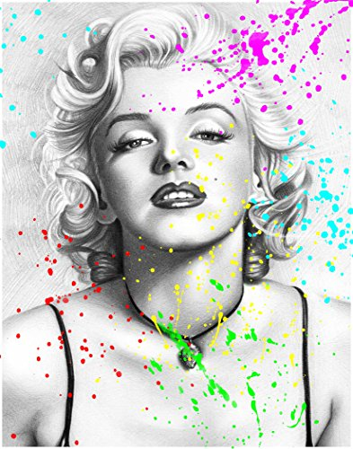 Pop Art Print ~ Marilyn Monroe w/ Watercolor Splatter (8
