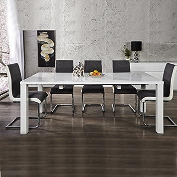 Tavolo da pranzo tavolo per la sala da pranzo, bianco lucido, 120 ...