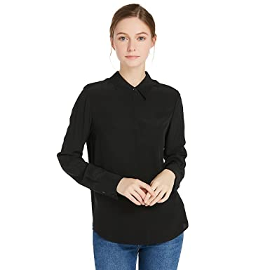 6b12ad9e0720c LilySilk Silk Shirts for Women Long Sleeve Buttons Front Mulberry Silk 18MM  Wrinkle Free Basic Silk