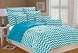 Marlo Lorenz 4892 Chevron Microplush Comforter Set, Clear Blue, Full/Queen