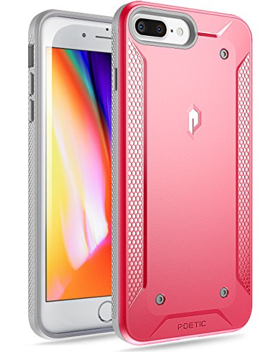 iPhone 7 Plus/iPhone 8 Plus Case, Poetic Quarterback [Corner/Bumper Protection][No Bulk][Dual Protection]- Stylish PC+TPU Protective Case for Apple iPhone 7 / iPhone 8 Plus Pink/Gray