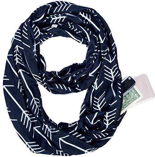 (Infinity Scarf Shawl Wrap - Trendy Arrow Pattern Women's Scarf with Zipper Pocket, Lightweight Wrap Travel Scarf)