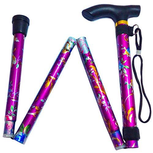 [보행보조재활지팡이] 편안히 스틱 꽃무늬 시리즈 접이식 지팡이 경량 스틱 접이식장 꽃무늬 (퍼플)