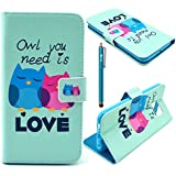 S6 Case,Galaxy S6 Wallet Case,iBerry LOVELY OWL FAMILY Pattern PU Leather Protective Skin Phone Case for Samsung Galaxy S6 / Galaxy SVI / Galaxy S VI (2015) (Built-in Credit Card/ID Card Slot) with Stylus Pen