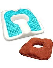 JIAKANUO Gel Upgraded Seat Cushion Memory Foam Coccyx Cushion for Tailbone Pain Office Chair Car Seat Cushion Back Pain Fatigue Relief