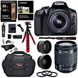 Canon EOS Rebel T6 Digital SLR Camera Kit with EF-S 18-55mm f/3.5-5.6 IS II Lens + Polaroid .43x Super Wide Angle & 2.2X HD Telephoto Lens + 50' & 8' Polaroid Tripods + Memory Cards + Accessory Bundle