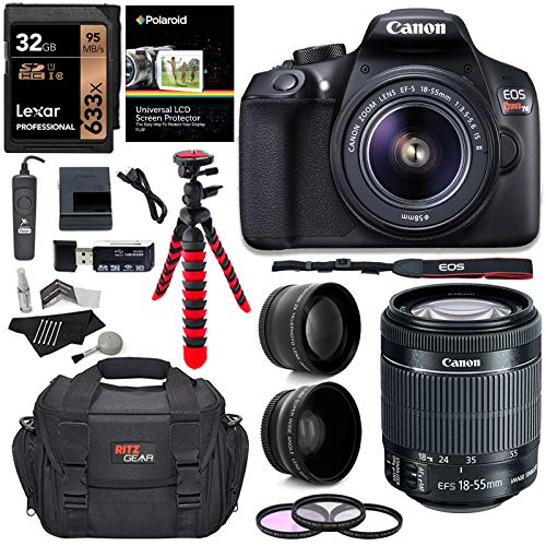 Canon T6 Digital Rebel SLR Camera Kit with EF-S 18-55mm f/3.5-5.6 is II Lens, 32GB Memory Card, Camera Bag and Premium Accessory Bundle (D600 Canon Camera)