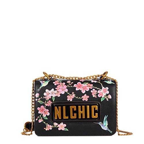 Floral Summer Crossbody Bag With Link Chain Shoulder Strap (Black) (Leather Shoulder Black Chain Bag Link)