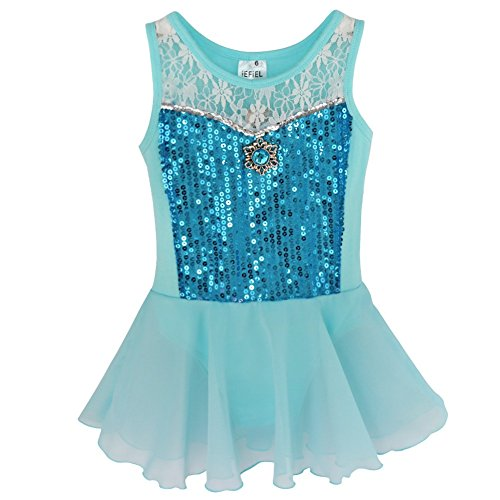 YiZYiF Toddler Kids Girl Ballet Dance Dress Leotard Chiffon Dancewear Costume Blue 4 ()