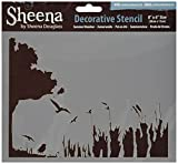 Crafters Companion Sheena Douglass Decorative Stencil 8-inch x 6-inch-Summer Meadow, Other, Multicoloured