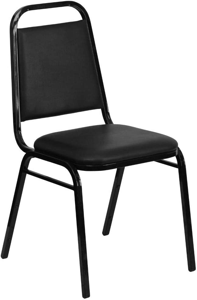 Flash Furniture HERCULES Series Trapezoidal Back Stacking Banquet Chair in Black Vinyl - Black Frame