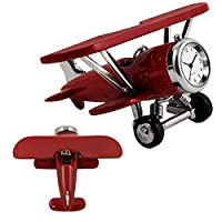 Metal Airplane Clock Red by Design Gifts