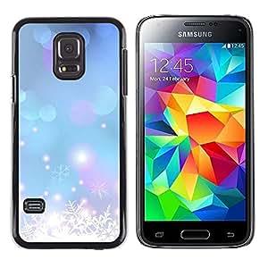 Caucho caso de Shell duro de la cubierta de accesorios de protección BY RAYDREAMMM - Samsung Galaxy S5 Mini, SM-G800, NOT S5 REGULAR! - Winter Snow Snowflake Blue Xmas