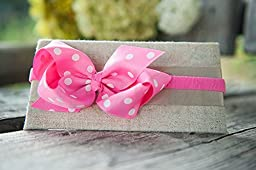Ema Jane - Baby Hair Flower, Bow, and Headband Sets (Grosgrain Bows (Polkadots) on Stretch Headbands)