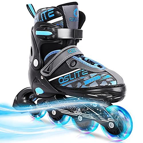 QSLITE Inline Roller Skates,Adjustable Inline Skates for Kids and Adults with Full Light Up Wheels, Outdoor Roller Blades for Women Men,Outdoor Indoor Backyard Skating