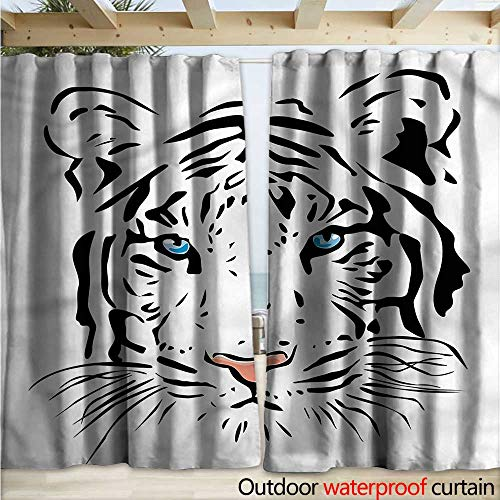 warmfamily Tattoo Drape for Pergola Tiger Ocean Blue Eyes