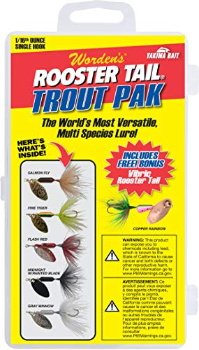 Yakima Bait Rooster Tail 1/16oz Single Hook Box Kit- Trout Pak Mix (Best Size Rooster Tail For Trout)