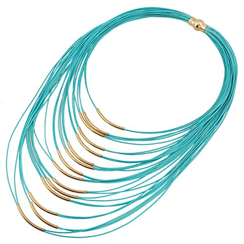 D EXCEED Ladies Gift Idea Jewelry Lightweight Multi Strand Statement Bib Necklace for Women Turquoise (Necklace Multi Blue Strand)