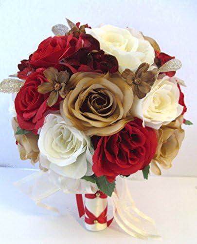 Boda Ramo 17 Piezas Paquete De Novia Ramilletes De Seda Ramo De Flores Rojo Champaña Dorado Artificial Flor Set Centerpieces Rosesanddreams Home Kitchen