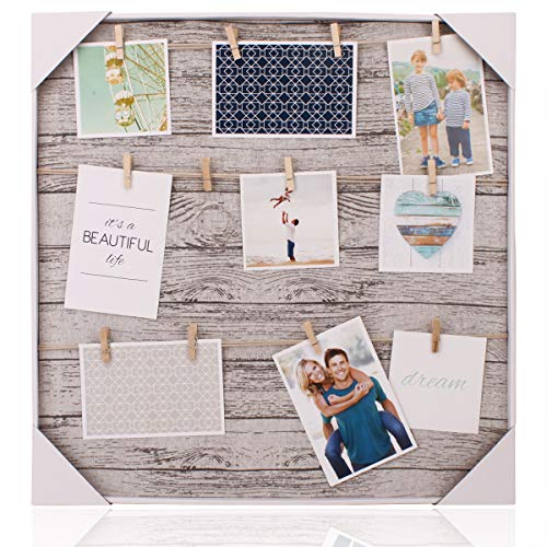HANTAJANSS Clip Photo Holder, Photo Collage Frame, Large Picture Display Frame with 12 Wood Clothespin Clips for Hanging Home Decoration 20 ×20 inches Grey -