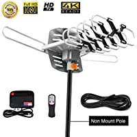 Outdoor TV Antenna 150 miles Amplified Digital HDTV Antenna with 360°Rotation,Wireless Remote Control, 33 Feet Coax Cable,Mounting pole 2018 Newest Version with 4K (Antennal without pole)