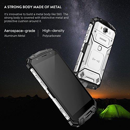 DOOGEE S60 Smartphone Libre IP68 Impermeable Dual SIM Android 7.0 Movile, Pantalla de 5.2�?FHD Helio P25 Octa Core 6GB+64GB Cámara Trasera 21MP Batería 5580mAh 12V2A Carga Rápida Huella Digital -Negro S60 Negro