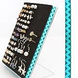 Stud & Hook Earring Holder - Turquoise Rick-Rack Design Ribbon, 5x7 Jewelry Display - Keep Earring Backs ON!