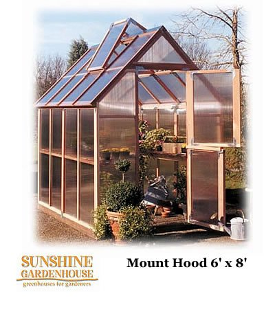 Sunshine GardenHouse, 6' Wide - 6' wide x 8' long (Sunshine Greenhouses)